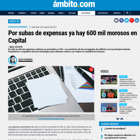 22/08/2017 - Ámbito Financiero
